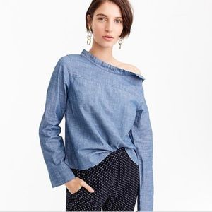 JCrew Funnel neck Shirt in Chambray